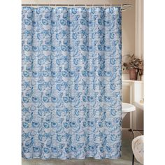 Caribbean Joe offers welcoming island-inspired style to bring color and light into your home. This shower curtain features a coastal shell, starfish, and wavy stripes design. Includes a set of 12 resin shower curtain rings. Blue Shower Curtains, Caribbean Joe, Shower Curtain Rings, Stripes Design, Coral, Florida, Bath Ideas, Remodeling, Decorating