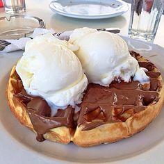 Image via We Heart It https://weheartit.com/entry/157380016 #chocolate #delicious #dessert #food #icecream #waffles #yum #yummy