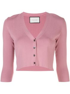Rose pink Petal cropped cardigan from Alexis featuring a v-neck, a fine knit, three-quarter length sleeves, a front button fastening and a fitted silhouette. Pink Outfits, Classy Outfits, Pretty Outfits, Cute Outfits, Pink Cardigan, Cropped Cardigan, Chica Punk, Kpop Fashion Outfits, Summer Shirts
