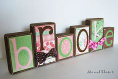 Wooden letter blocks customized with your colors by meandthese3, $6.00