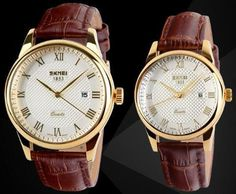 New SKMEI Lover's Watches Luxury Brand Quartz Watch For Men Women Fashion Casual Leather Dress Wristwatches Gold Black 2PCS