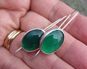Green Onyx and Silver Earrings