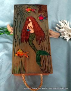Mermaid Decor wood storage box_hand by CarmelasCoastalCraft, $65.00