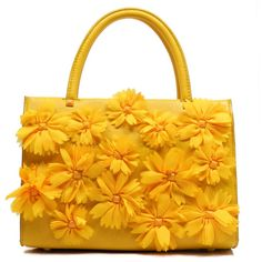Yellow 3D Flower Top Handle Satchel Bag ($57) ❤ liked on Polyvore featuring bags, handbags, purses, yellow purses, handbag purse, handle satchel, yellow handbags and magnetic bag