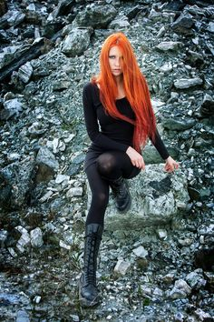 Photographer:Aldis Vite Model: Pomegranate Wolf- Photo submitted by me yours! Dark Fashion, Gothic Fashion, Red And Black Outfits, Dark Beauty Magazine, Wolf Photos, Hair Shows, Ginger Hair, Queen, Gothic Girls