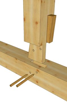King Post to Tie Wedged Tenon - Timber Frame Construction Details