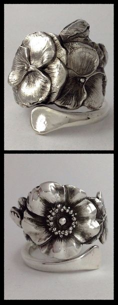 Vintage Solid Sterling Silver Spoon Rings made by Not So Flatware....WOW