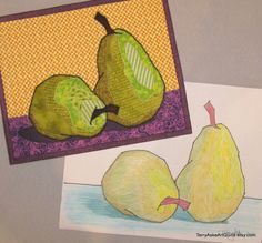 Art Quilt  Two Pears  Mini Wall Hanging by TerryAskeArtQuilts, $75.00    For my art quilt, I created the pears by gluing fabric scraps to a base fabric, then stitching around the various fabrics with matching thread. I fused the pear units and the shadows to the pieced background, and outlined the pears with a zigzag stitch in black thread to mimic the look of the felt marker in the sketch.