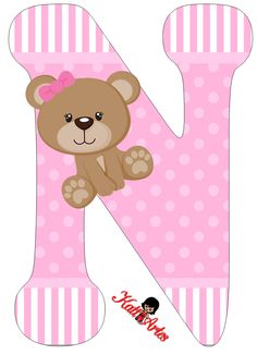 Alfabeto de tierna osita con fondo rosa. | Oh my Alfabetos! Alphabet Letters Design, Monogram Alphabet, Alphabet And Numbers, Diy And Crafts, Paper Crafts, Baby Shawer, Bear Party, Bear Pictures, Lettering Design