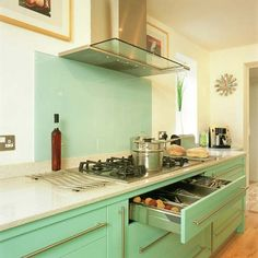 mint kitchen - retro color, modern appliances