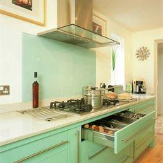 mint kitchen - retro color, modern appliances