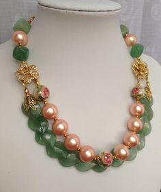 Onyx, Shell Pearll & Tensha Beads Necklace