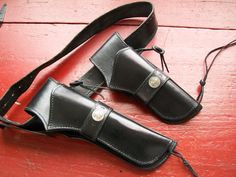 """Vintage Leather Holsters, Belt - Custom Made for 7 1/2"""" barrel Colt Single Action Army Revolver & Scout 5 1/2"""" barrel - Paladin style by LucysLuckyDeals on Etsy"""