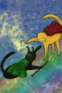 Lokitty vs Cat Thor by HikaruNo5.deviantart.com on @deviantART