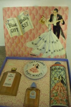 "RARE VINTAGE ""BLUE WALTZ"" GIFT SET PERFUME FACE POWDER TALC SKIN FRESHENER BOX | eBay"