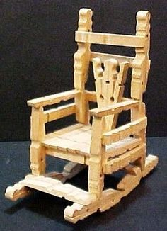 Vintage handcrafted wood clothespin rocking chair handmade wooden doll furniture