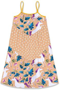 Apricot Unicorn & Floral Tiered Shift Dress - Toddler & Girls