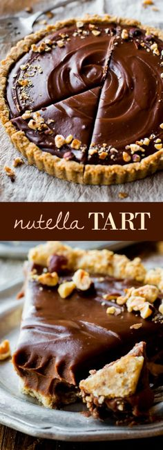 Smooth and creamy Nutella tart complete with a toasted hazelnut crust. It's surp… Smooth and creamy Nutella tart complete with a toasted hazelnut crust. It's surprisingly easy! Recipe on sallysbakingaddic… Just Desserts, Delicious Desserts, Dessert Recipes, Yummy Food, Dinner Recipes, Dessert Food, Sallys Baking Addiction, Chocolate Recipes, Chocolate Cups
