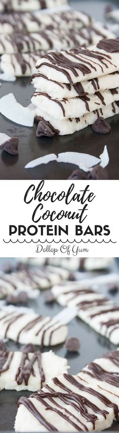 Chocolate Coconut Protein Bars | Need a quick, healthy snack for busy days? Make a batch of these protein bars that are made with all clean eating ingredients! Pin now to try later.
