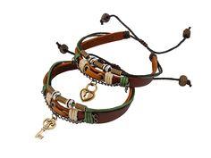 Leren Armband - Twee leren armbanden met bedels van een slotje en sleuteltje