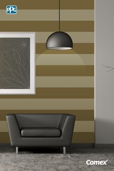"""Las franjas horizontales en las paredes te ayudarán a darle amplitud a tus espacios. Utiliza dos colores de la misma gama y dile """"hola"""" a tu nuevo y renovado hogar.  #Inspírate, aplica el color como un experto."""
