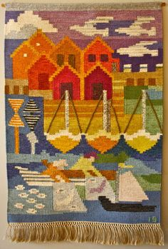 Ingegerd Silow; Hand-Woven Wool Tapestry, 1950s.