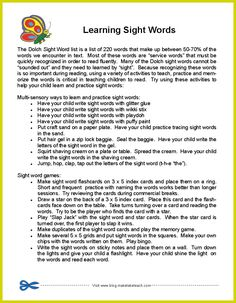 Free parent handout- Learning Sight Words.  Fun ideas for practicing words over the summer months.