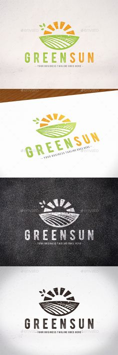 Green Sun Logo Template: Nature Green Logo Design Template by BossTwinsMusic. Farm Logo, Natural Logo, Green Logo, Sunshine Logo, Business Logo, Crafter Logo, Hill Logo, Logo Templates, Logo Design
