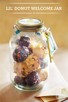 Fill a mason jar with Pillsbury® Funfetti® Lil' Donuts. A creative way to welcome a new neighbor.  #lildonutspromo