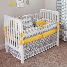 Designer Custom Made   Ele Yellow 5pc Crib Bedding par sofiabedding, $279.00