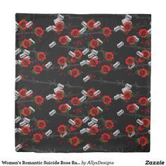 Women's Romantic Suicide Rose Razor Barbed Wired Duvet Cover - This beautiful, romantic, women's duvet cover is all about past love and broken hearts featuring roses, razors, barbed wire and blood as representations of the feelings and memories involved.