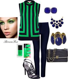 """""""Navy & Green"""" by brownfox1 on Polyvore"""
