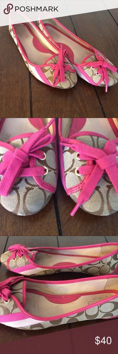 """Coach pink leather """"janelle"""" flats Woman's size 9m pink leather janelle flats. Pre-owned. Wear on bottom, inside and at toes. A little bit of fuzz on the shoe laces. These measure 11 inches from toe to heel. I ❤️ reasonable offers! Coach Shoes Flats & Loafers"""