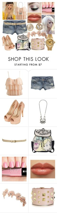 """jae"" by nothing-better-than-a-riddle ❤ liked on Polyvore featuring Wet Seal, American Eagle Outfitters, Topshop, AllSaints, Disney, Smashbox, Rolex, Michael Kors and Valentino"