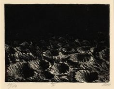 Der Krieg no.4 Crater field near Dontrien lit up by flares, Otto Dix.