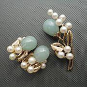 Vintage Ming's of Honolulu Water Jade and Cultured Pearl Brooch and Earrings Set