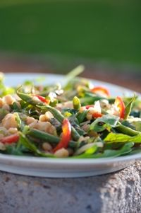 Three-bean salad on baby salad leaves from Food from the heart. Courtesy of Lapa Publishers, photo by Adriaan Vorster Three Bean Salad, South African Recipes, Green Beans, Leaves, Vegetables, Heart, Baby, Food, Vegetable Recipes