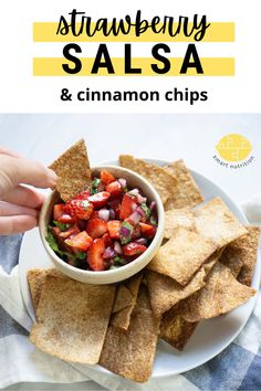 A fresh and sweet take on the classic chips and salsa snack! So easy to make but will impress your friends :) #salsa #salsarecipes #strawberry #strawberryrecipes #appetizer #appetizerideas #snackideas #snacks Strawberry Salsa, Strawberry Recipes, Fruit Recipes, Snack Recipes, Delicious Recipes, Easy Recipes, Dessert Recipes, Baked Cinnamon Chips, Cinco De Mayo