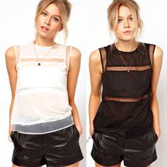 33dfc51431c47 2014 New Fashion Women Clothing Sleeveless Chiffon Organza Patchwork Blouse  Women White Black Shirt Blouses in Stock(China (Mainland))