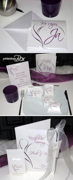Edel und ausgefallen! Hochzeitseinladungen und Co. Trendstarkes Hochzeitsset in traumhaften lila.
