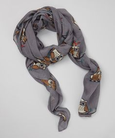Gray Owl Scarf by Sweet Indigo #zulily #zulilyfinds