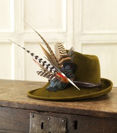 Phillip Treacy for Purdey - Velour Sidesweep Hat With Leather Band And Feathers
