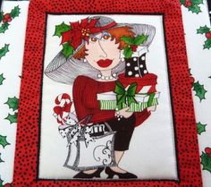 Mug Rug Snack Mat Loralie's Christmas Shopping Lady Hot Mat Quilted Pieced | eBay