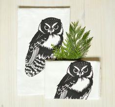 flour sack towels . set of 2 . owl . 100% cotton, hand-printed, black