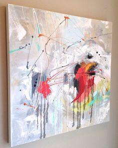 """Toile abstraite, peinture abstraite, art contemporain, art urbain, décoration murale, œuvre d'art, création originale, gift , carré, 24""""x24"""" de la boutique IKOUart sur Etsy"""