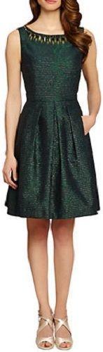Tahari Arthur S. Levine Dark Green Embellished Fit Flare Dress Size 12 Metallic #Tahari #FitandFlare #Cocktail