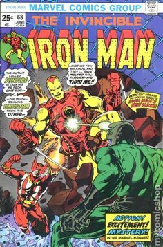 A cover gallery for the comic book Iron Man Iron Man Comic Books, Old Comic Books, Vintage Comic Books, Marvel Comic Books, Comic Book Covers, Vintage Comics, Marvel Characters, Marvel Comics, Old Comics