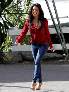 LOVE! Denim heels & red top! LOVE!!!!