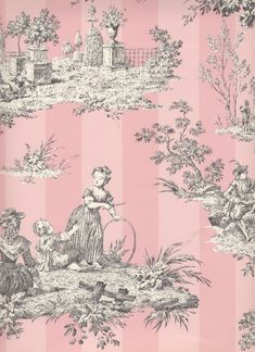 "Toile de Jouy, sometimes abbreviated to simply ""toile"", is a type of decorating pattern consisting of a usually white or off-white background on which a repeated pattern depicting a fairly complex. Chinoiserie, Pastel Decor, Everything Pink, Of Wallpaper, Pink Toile Wallpaper, French Wallpaper, Stripe Wallpaper, Wallpaper Designs, Bedroom Wallpaper"