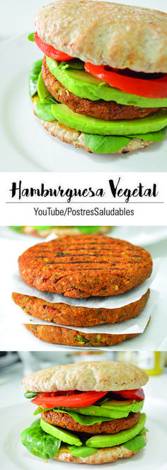Hamburguesa deliciosa, fácil y muy saludable ideal para esos momentos de antojos! Veg Recipes, Vegetarian Recipes, Healthy Recipes, Food Porn, Food Goals, Eat Smart, I Love Food, Food Inspiration, Healthy Snacks